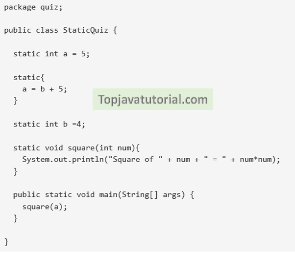 java quiz on static