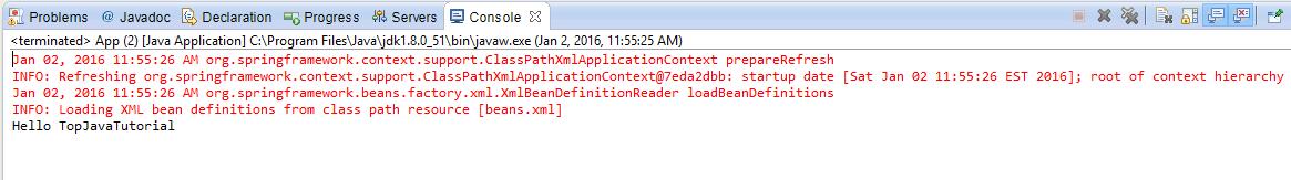 spring xml config program output