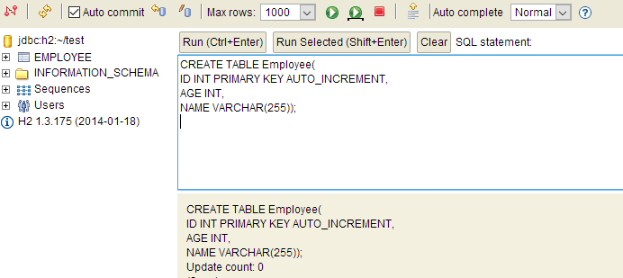 create table in h2 database