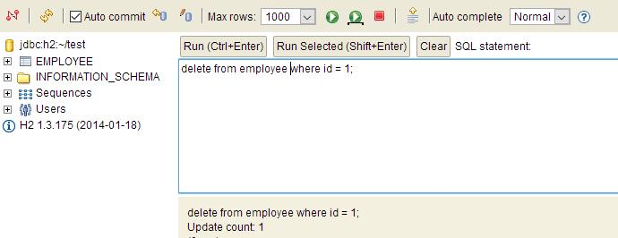 delete in h2 database