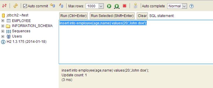 insert in h2 database
