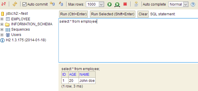select in h2 database