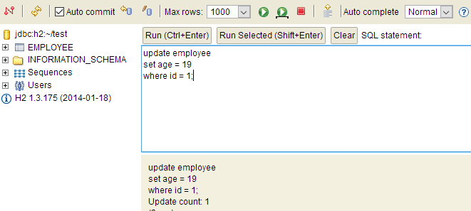 update query in h2 database