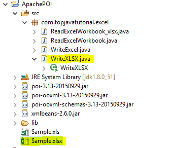 write to xlsx in java project structure
