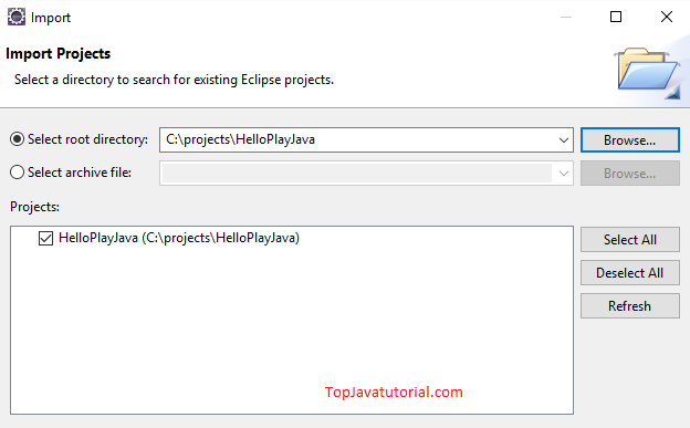 Import Play project in Eclipse