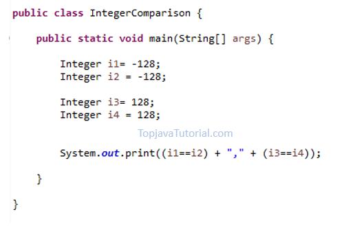 Java quiz on Integer Comparison