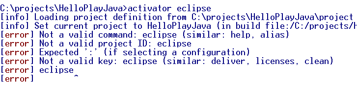 Not valid project id eclipse error in play