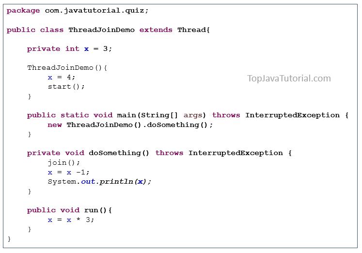 Java puzzle on Thread join