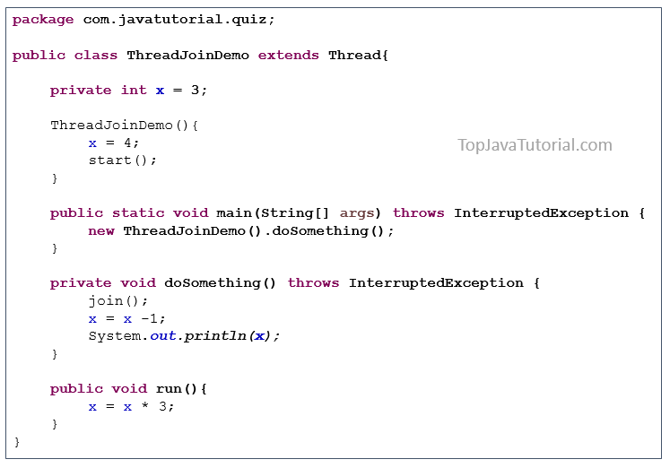 Java puzzle on Thread join