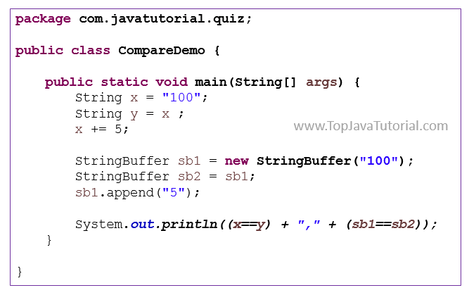 Java quiz on comparing strings and stringbuffers - Top