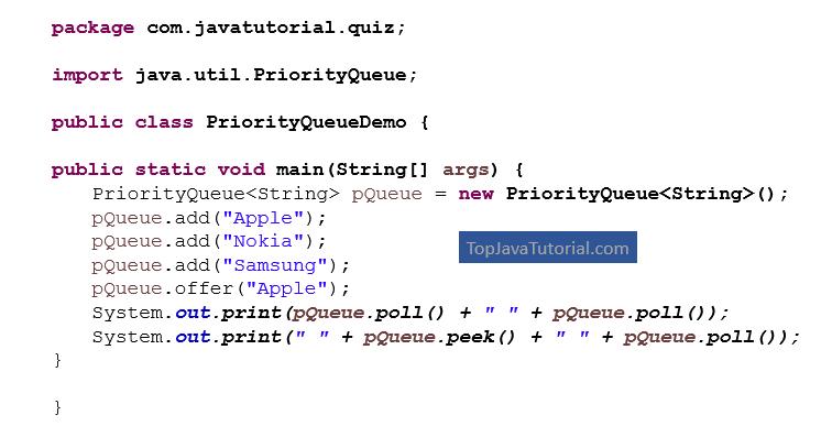 Java Quiz on PriorityQueue
