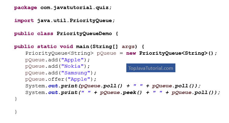 Java Quiz on PriorityQueue