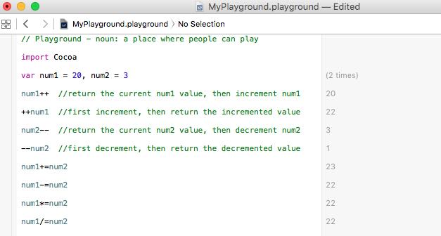 Swift increment, decrement and compound operators