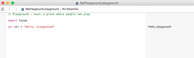 Xcode Playground Hello World
