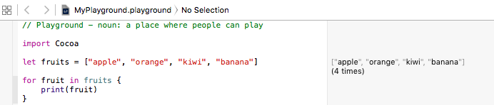 for-in with collection in swift