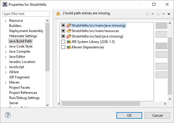src main java buildpath missing