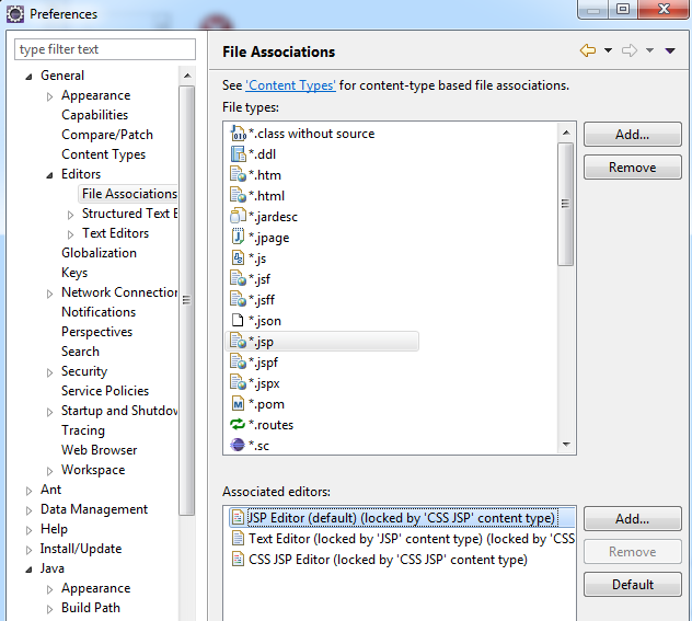 set default jsp editor in eclipse
