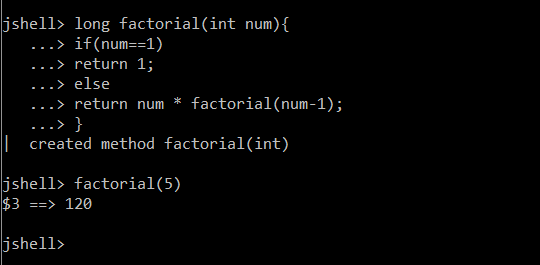 jshell factorial function