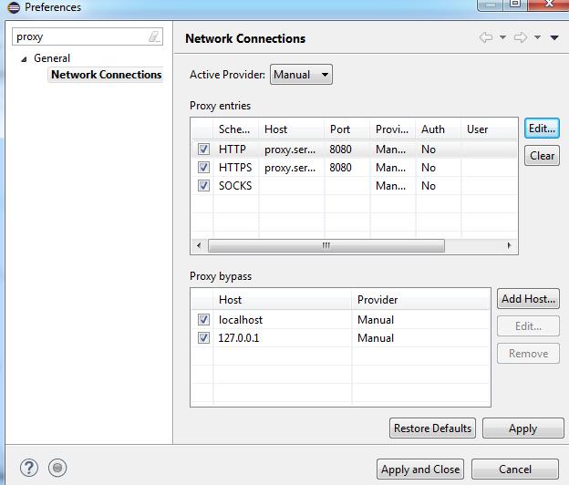 configure proxy in Eclipse 2