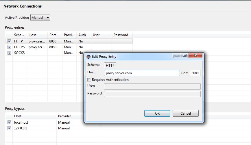 configure proxy in Eclipse